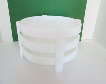 Vintage Tupperware Three Pie Stackers Divide a Rack Serving White
