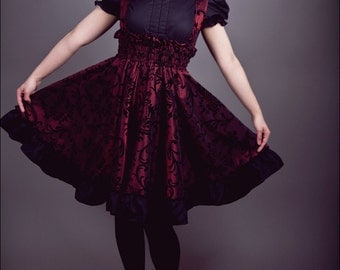 READY to Ship Steampunk Suspender Skirt  Lolita Jumper Red and Black JSK- XL, S