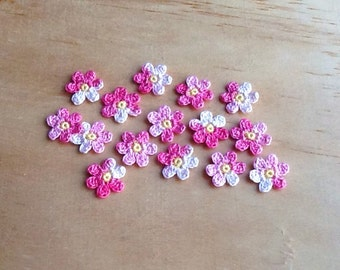 Crochet Flowers Appliques 117.07 --- 12 pcs --- Tiny Size flowers in Variegated Pink Petals with Centre in Deep Yellow
