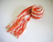 Short Knit Scarf / Child Scarf / Orange & White Scarf / Cotton Scarf / Scarf for Kids / Summer Scarf