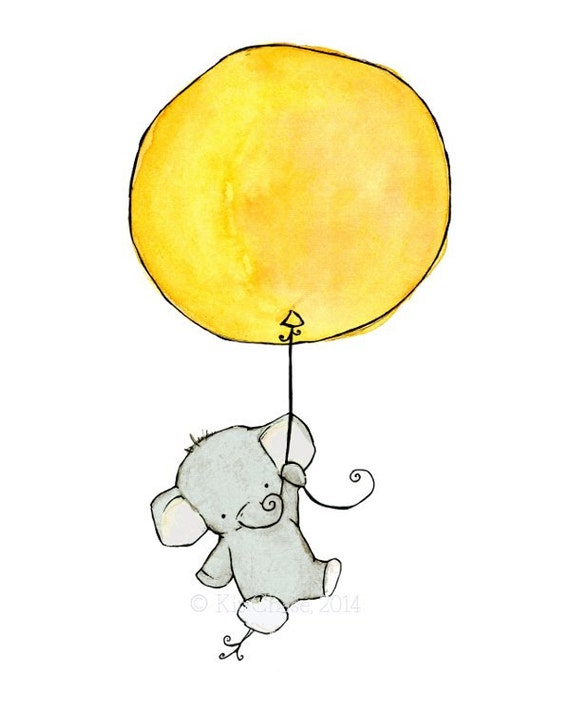 Nursery Art -- Elephant Balloon -- Art Print