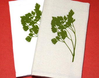 Flour Sack Dish Towel - Parsley Design,  Screen Printed in Dark Olive Green - 100% cotton tea towel