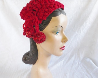 Clearance 1950's Vintage Red Crochet Hat with Sequins and Pom Poms