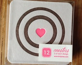 COASTERS letterpress with bison arrows bees and BULLSEYE!