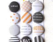 MIDNIGHT Project Life Flair Buttons or Badges - Midnight Edition - Set of 12 flat back flair