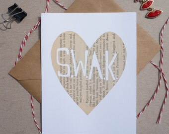 "Cut-out ""Sealed With A Kiss"" Card, Hand-cut Cards on Vintage Paper, Valentine's Day Cards, SWAK, Sealed With A Kiss"