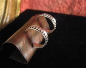 Unique Wide silver hoop earrings beaded wire detail - handmade to order- 1 inch hoop