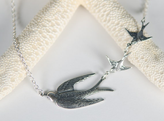 Silver Sparrow Necklace | Baby Birds | Handmade unique nature inspired family love tattoo steampunk jewelry