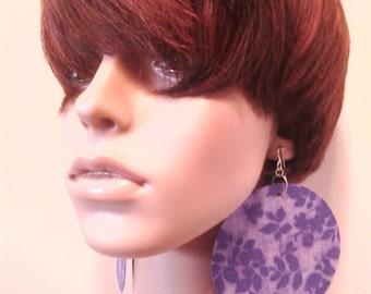 Light and Dark Purple Leaf Print Womens Fabric Earrings, Women Earrings, Fashion Earrings, Fabric Earring, Large Earrings