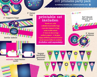 Out of this World GIRL - Space Theme Birthday Party - Printable Complete Party Pack- Instant Download PDF File