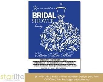 Royal Blue Bridal Shower Invitation Wedding Gown Bridal Shower Invite Personalized Printable Invitation or Printed Invitations