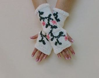 Knit Fingerless Gloves, Flower Arm Warmers, Green Floral Texting Half Finger Mitts, White Pink Fingerless Mittens, Arm Sleeves