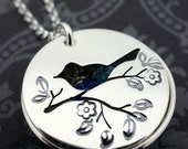 Mother Bird Jewelry - Locket Necklace in Sterling Silver - Personalized Children's Names or Dates - Hand Drawn and Cut Bird on Branch