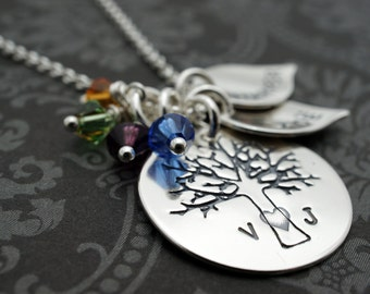 Mother's Day Family Tree Necklace - Personalized Family of FOUR Oak Tree Necklace - Sterling Silver Charms w/ Initials & Children's Names