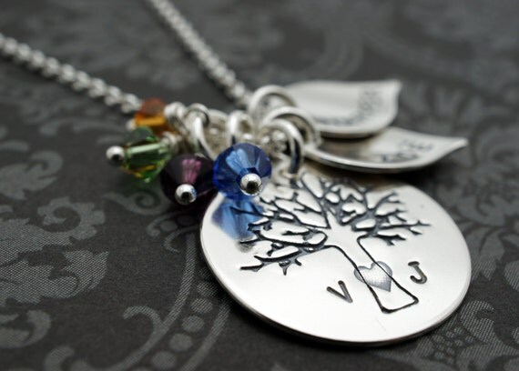 Mother's Family Tree Necklace - Personalized Family of FOUR Oak Tree Necklace - Sterling Silver Charms w/ Initials & Children's Names