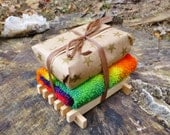 Gift Set NAG CHAMPA & Raw Honey Soap, Tie Dyed Wash Cloth, Soap Dish Organic Ingredients stars rainbow bright brown wood tie dye tye died