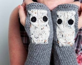 Knit Fingerless Gloves Cream Owl Gloves Winter Accessories Womens Winter Gloves  Knit Grey Gloves Knit Armwarmers Texting Gloves