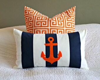 Modern Anchor Lumbar Pillow Cover - Navy and White Stripe - Orange Anchor