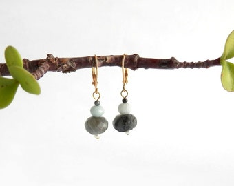 Prairie Drop Earrings - Mottled Grey/Blue Amazonite