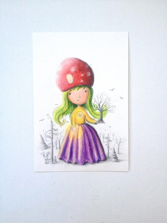 Surreal Illustration -  Fantasy drawing -  Tree illustration -  pop surrealism -  mushroom -  fairy tale -  OOAK