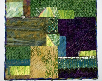 Abstract FIber Art Quilted Wall Hanging Greens and Purples