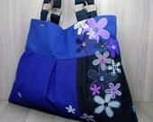 Large Flower Shoulder Bag - Tote - Handbag - Applique - Purple - Black - Grey - Magenta - Zip Pocket - Phone Pocket - Magnetic Clasp
