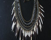 Porcupine Quill Bib Necklace - Upcycled Rosary Beads and Tribal Fringe - Ceremony No. 4