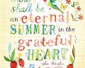 Eternal Summer art print | Hummingbird Floral Wall Art | Watercolor Quote | Hand Lettering | Katie Daisy