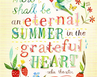 Eternal Summer art print | Hummingbird Floral Wall Art | Watercolor Quote | Hand Lettering | Katie Daisy