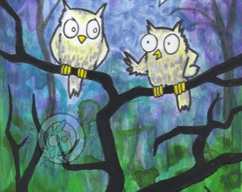 Two Hoots white owl friends night tree Original acrylic painting 5 x 7 cartoon lowbrow humor Art