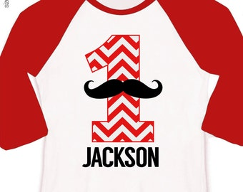 Mustache first birthday boy shirt - mustache chevron number one (or any age) birthday personalized raglan sleeve shirt