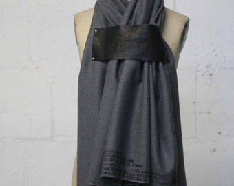 Men's Gray Wool and Leather Scarf , Text scarves, Holiday Gifts , Large Scarves,  Winter Accessories
