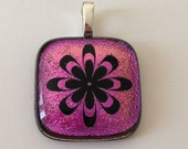 Abstract Flower Pendant Dichroic Glass Pink Yellow Green with black necklace wire 1694