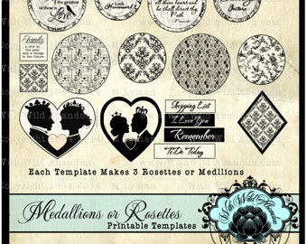 Black and White Rosettes or Medallion  Embellishment Templates, Scrapbook Embellishments, Template