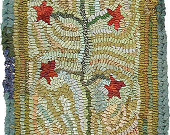 Feather Tree Pattern PDF for rug hooking and punchneedle embroidery