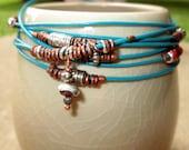 Mixed Metals and Leather Wrap Bracelet, Bracelet, Wrap Bracelet, Prakeuam Silver, Silver bracelet, Convertible Anklet/Bracelet,  Anklet