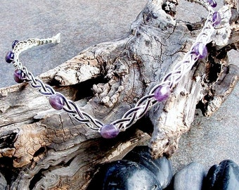Wedding Circlet Amethyst - Renaissance Wedding Headband - Medieval Circlet - Elven Tiara Crown - Silver or Gold SCA Circlet