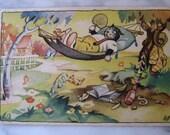 SALE !!! Dressed Cats . Very old Dutch Postcard.  It's so hot. 1950 era