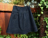 Dark Denim Semi Gathered skirt with a Pocket, A-line Skirt  size women's hip sizes 30-56 inches