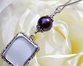 Wedding bouquet photo charm. Purple pearl memory photo charm.