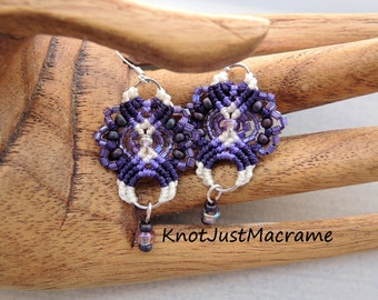 Purple and White Lace Beaded Macrame Earrings MicroMacrame