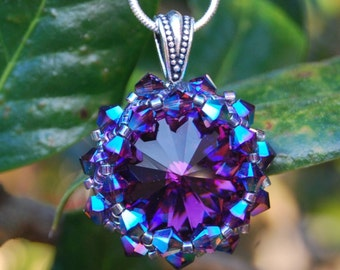 Deep Purple Swarovski Crystal  Necklace