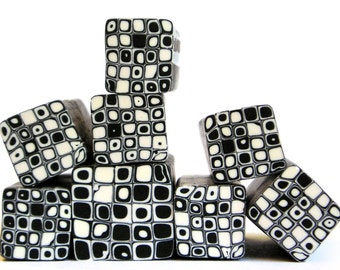 Warm white and Black polymer clay Retro Dots Square cane , raw and unbaked Fimo millefiori cane by Ronit Golan