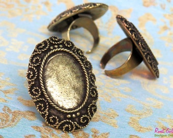 Oval Brass statement Ring Blank settings for 18x25mm Cab , adjustable wide band , Oxidized rustic finish , antique gold bronze ring bezel