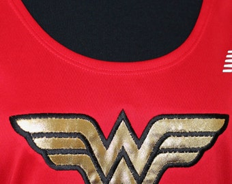 Wonder Woman New Balance racerback tech tank OR short sleeve tee wicking women running runners singlet costume cosplay halloween