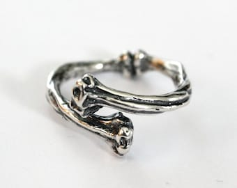 Silver Bone Ring in Solid White Bronze with Sterling Overlay Bone Ring 385