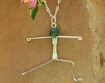 Yoga pendant ~ Warrior 2 yoga pose ~ Sterling silver yoga pendant ~ Namaste~ Warrior 2 necklace ~ Stick figure pendant