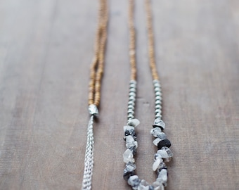 Mixed Media Boho Necklace /  Black Grey SIlver Brown Necklace /  Gemstone Necklace / Fume Quarts Necklace