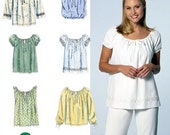 PEASANT RENAISSANCE Top Sewing Pattern - 6 EASY Misses Tops Sizes 12-16
