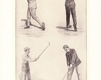 1912 Golf Print - Vintage Antique Home Decor Book Plate Art Illustration for Framing 100 Years Old